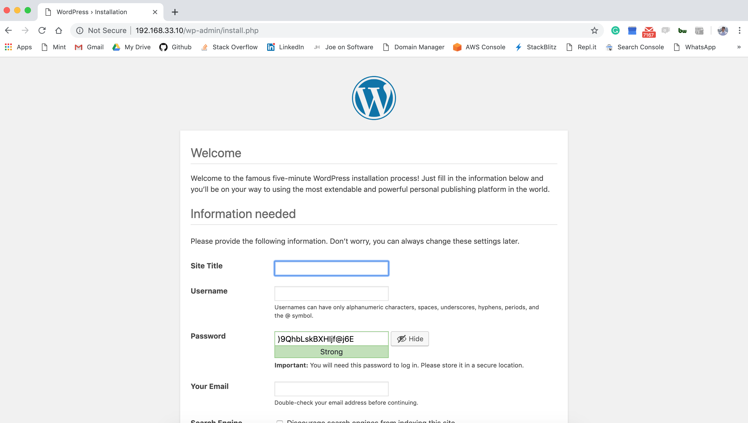 Wordpress settings page